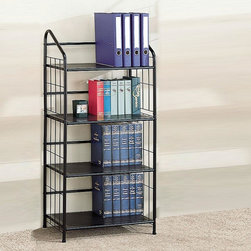 Coaster - Black Casual Bookcase - Black metal four tier bookshelf or five tier bookshelf.