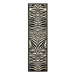 Safavieh - Lyndhurst Collection Zebra Black/ White Runner (2'3 x 14') - Inspire your every step by bringing a new sense of adventure to your home with this jungle-themed traditional runner rug. This power-loomed polypropylene floor covering features a black-and-white zebra print design and is sure to set off any home decor.