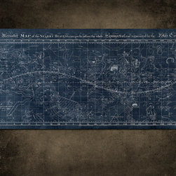 Vintage Map of the Universe on Metal by Art-House Graffiti - This steel map of the universe was created using a vintage illustration. The panel is a generous 4-by-2 feet and would make a stunning focal point in an otherwise bare hallway.