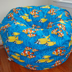 "Bean Bags for Boys - Ahh! Products Ocean Reef cotton bean bag chair. Remove and wash cover, water-repel liner. 37"" large size. 10 year warranty, Made in USA."
