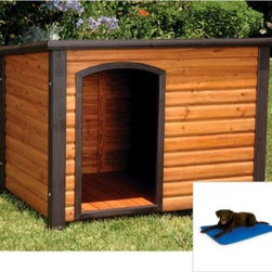 Precision Outback Log Cabin Dog House with Cooling Bed - It's a dog's life, make sure your pup enjoys his with the Precision Outback Log Cabin Dog House with Cooling Bed. This two-piece package will have your dog howling - it includes a handsome fir dog house and an ingenious dog bed with Cool Core technology to keep your hot dog cool.The dog house is made in a log cabin style of fir and comes in three sizes to perfectly fit your pup. Features include a raised panel floor, handsome long cabin look, and open-air door for easy access and ventilation. It assembles in only 20 minutes!The cooling dog bed is made of durable material with innovative Cool Core technology, which diverts regular tap water for the ultimate cooling power. To use, simply add water through the easy fill cap and adjust the comfort with the air valve - the bed requires no electricity and may be used indoors or outdoors.Small dog houseOverall dimensions: 33.27L x 24.61W x 22.24H inchesInterior dimensions: 28L x 20.3W x 15H inchesDoor dimensions: 8.7W x 13H inchesMedium dog houseOverall dimensions: 44.49L x 26.38W x 29.53H inchesInterior dimensions: 39.17L x 21W x 19H inchesDoor dimensions: 12.6W x 18.7H inchesLarge dog houseOverall dimensions: 45.3L x 30.71W x 32.6H inchesInterior dimensions: 39.3W x 24D x 27H inchesDoor dimensions: 14.2W x 24.25H inchesAbout Precision Pet ProductsPrecision Pet Products is an established and respected manufacturer supplying a wide variety of pet products to all facets of the pet industry since 1985. Located in Orange County, California, the Precision Pet Products team assures that their products are constructed from the strongest materials available and designed to withstand the wear and tear of the most active of pets and pet handlers.