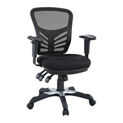 LexMod - Articulate Black Mesh Office Chair - Mark a turning point in your office tasks with this upright and ergonomic mesh office chair. Let the breathable mesh back and plush fabric cushion seat serve as a simple extension to your everyday home and business ventures. The back height and seat depth are both easily adjustable to fit your height and size, while two sturdy armrests height adjust to assist your vertical seat posturing. Articulate also includes tilt tension and lock functions to recline and incline comfortably as needed. Fitted with five hooded dual-caster wheels, give yourself the ability to easily glide over carpeted floors while naturally performing tasks without exertion.