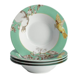 BonJour - BonJour Dinnerware Fruitful Nectar Porcelain 4-piece Soup/ Pasta Bowl Set - The 8.5-inch bowls are poised to serve culinary delights for any meal,from traditional French onion soup to spaghetti Bolognese. Blending exquisite style with contemporary convenience,each bowl is safe for the microwave and dishwasher.