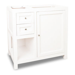 "Hardware Resources - Lyn Design VAN091-36 - This 35-1/2"" wide solid wood vanity features clean lines with a stepped door and drawer profile for a modern look. The Cream White finish is soft to complement most decor, yet bold enough to make a statement. A large cabinet with an adjustable shelf, offset bank of fully functional drawers and open shelf provide ample storage. Drawers are solid wood dovetailed drawer boxes fitted with full extension soft close slides and cabinet features integrated soft close hinges . Overall Measurements: 35-1/2"" x 21-3/4"" x 35"" (measurements taken from the widest point)"