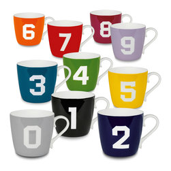 Konitz - Set of 10 Mugs Colors Numbers 0-9 - If you're addicted to coffee, you'll love this numbered mug set. Made of lightweight bone china, these mugs add a dash of color to every interior.