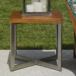 Frontgate - Tommy Bahama Tres Chic Outdoor End Table, Patio Furniture - Constructed of weatherproof teak and 304 stainless steel. Multi-step, hand-rubbed oil finish on teak. Stainless steel is corrosion-resistant. Pan Asian-influenced horizontal lattice motif occurs throughout the collection. The beauty of the Tres Chic Square End Table by Tommy Bahama lies not only in its remarkable design, but also in the blending of natural teak with brushed stainless steel. The sinuous lines and recurring horizontal motif impart a clean, sophisticated Pan Asian influence to your high-end, modern design.  .  .  .  .
