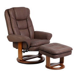 "Mac Motion - Mac Motion Chocolate Nubuck Bonded Leather Swivel Recliner with Ottoman - Mac Motion Chocolate Nubuck Bonded Leather Swivel Recliner with Ottoman Plush is the word for this unique Euro Design motion chair and matching ottoman. Features for this comfortable chair include 360 degree swivel with multiple reclining position adjustment. Matched with angled ottoman for lower leg support and to complete therapy seating. Complimented by bonded leather material in a ""Chocolate"" color with a warm ""Walnut"" wood frame finish.  Recliner (1), Ottoman (1)"