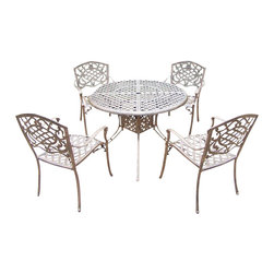 Oakland Living - 5-Pc Durable and Rust-Free Dining Set - Includes a table, four stackable chairs and metal hardware. Traditional lattice pattern and scroll work. Handcasted and lightweight. Fade, chip and crack resistant. Hardened powder coat. Warranty: One year. Made from cast aluminum. Antique bronze finish. Minimal assembly required. Table: 42 in. Dia. x 29 in. H (44 lbs.). Chair: 23 in. W x 22 in. D x 35.5 in. H (25 lbs.)The Oakland Mississippi Collection combines grace style and modern designs giving you a rich addition to any outdoor setting. The pattern is crisp and stylish. Each piece is finished for the highest quality possible. This set is the prefect piece for any outdoor dinner setting. Just the right size for any backyard or patio. We recommend that the products be covered to protect them when not in use. To preserve the beauty and finish of the metal products, we recommend applying an epoxy clear coat once a year. However, because of the nature of iron it will eventually rust when exposed to the elements.