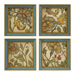 iMax - Elberta Handpainted Wall Art, Set of 4 - The Elberta wall art is a set of four lovely interpretive floral still life hand paintings framed in simple, elegant blue frames.