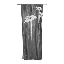 """Kess InHouse - Brienne Jepkema """"Daises"""" Gray Flowers Decorative Sheer Curtain - Let the light in with these sheer artistic curtains. Showcase your style with thousands of pieces of art to choose from. Spruce up your living room, bedroom, dining room, or even use as a room divider. These polyester sheer curtains are 30"""" x 84"""" and sold individually for mixing & matching of styles. Brighten your indoor decor with these transparent accent curtains."""