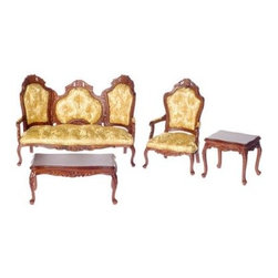 Town Square Miniatures Walnut Rococo Living Room Set - This item is intended for collector dollhouses and is not recommended for children under 13 years of age.