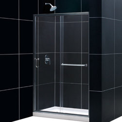 """DreamLine - DreamLine Infinity-Z Frameless Sliding Shower Door and SlimLine 36"""" - This kit combines the INFINITY-Z shower door with a coordinating SlimLine shower base to create the perfect solution for a shower space makeover. The INFINITY-Z pairs a sliding shower door with a stationary glass panel to provide a comfortably wide shower entry. The stationary panel is fitted with a convenient towel bar that doubles as a handle. The SlimLine shower base completes the look with a low profile design for a sleek modern look. Choose an efficient and cost effective DreamLine shower kit to completely transform a shower space. Items included: Infinity-Z Shower Door and 36 in. x 48 in. Single Threshold Shower BaseOverall kit dimensions: 36 in. D x 48 in. W x 74 3/4 in. HInfinity-Z Shower Door:,  44 - 48 in. W x 72 in. H ,  1/4 (6 mm) clear tempered glass,  Chrome or Brushed Nickel hardware finish,  Frameless glass design,  Width installation adjustability: 44 - 48 in.,  Out-of-plumb installation adjustability: Up to 1 in. per side,  Anodized aluminum profiles and guide rails,  Convenient towel bar on the outside panel,  Aluminum top and bottom guide rails may be shortened by cutting up to 4"""",  Door opening: 15 - 19 in.,  Stationary panel: 21 1/2 in.,  Reversible for right or left door opening installation,  Material: Tempered Glass, Aluminum,  Tempered glass ANSI certified36 in. x 48 in. Single Threshold Shower Base:,  High quality scratch and stain resistant acrylic,  Slip-resistant textured floor for safe showering,  Integrated tile flange for easy installation and waterproofing,  Fiberglass reinforcement for durability,  cUPC certified,  Drain not includedProduct Warranty:,  Shower Door: Limited 5 (five) year manufacturer warranty ,  Shower Base: Limited lifetime manufacturer warranty"""