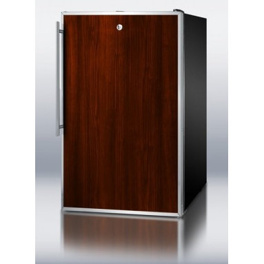 """Summit - CM421BLBIFR 20"""" 4.1 cu.ft. Under-Counter Compact Refrigerator-Freezer With Rever - Sized at just under 20 wide the CM421BLBIFR can be used built-in or freestanding It has a black cabinet and reversible door with a top-mounted keyed lock The door includes a two-piece stainless steel door frame that can accept slide-in panels for a c..."""