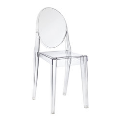 LexMod - Casper Dining Side Chair in Clear - Combine artistic endeavors into a unified vision of harmony and grace with the ethereal Casper Chair. Allow bursts of creative energy to reach every aspect of your contemporary living space as this masterpiece reinvents your surroundings. Surprisingly sturdy and durable, the Casper Chair is appropriate for any room or outdoor setting. Pure perception awaits, as shining moments of brilliance turn visual vacuums into new realms of transcendence.