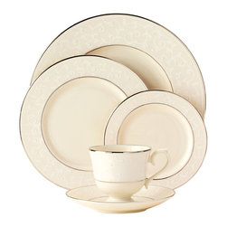 Lenox - Lenox Pearl Innocence 5-piece Dinnerware Place Setting - Add an element of romance to your table decor with this Lenox traditional pattern that evokes a more innocent time. The tone-on-tone formal design of Pearl Innocence is accented by hand with pearl-white enamel dots.
