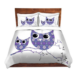 DiaNoche Designs - Duvet Cover Twill by Susie Kunzelman - Owl Argyle Purple Blue - Lightweight and soft brushed twill Duvet Cover sizes Twin, Queen, King.  SHAMS NOT INCLUDED.  This duvet is designed to wash upon arrival for maximum softness.   Each duvet starts by looming the fabric and cutting to the size ordered.  The Image is printed and your Duvet Cover is meticulously sewn together with ties in each corner and a concealed zip closure.  All in the USA!!  Poly top with a Cotton Poly underside.  Dye Sublimation printing permanently adheres the ink to the material for long life and durability. Printed top, cream colored bottom, Machine Washable, Product may vary slightly from image.