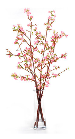 New Growth Designs - Quince Arrangement - Delicate, dainty and ... silk? Yes, this sublime arrangement of flowering quince branches in a tall glass vase will last forever. Shh — no one will guess you didn't cut them from your garden this morning.