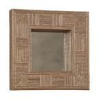"""Linon Home Decor - Linon Home Decor Mosaic Cocostick Square Mirror X-QS708RIM-TIMA - Handcrafted from natural fibers, the Mosaic Cocostick Square Mirror is a work of art. Measuring 16.5""""x16.5"""" this piece is perfect hanging alone or in a group. The simple, versatile design easily complements a variety of d&#233:cor colors and styles. We suggest you consult a professional before hanging."""