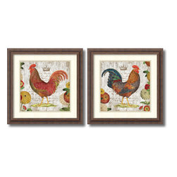 Amanti Art - Suzanne Nicoll 'Rooster, rustic frame- set of 2' Framed Art Print 18 x 18-inch E - Bring a bit of rustic country charm into your kitchen or dining nook with this Rooster set by Suzanne Nicoll.