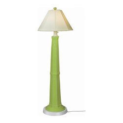 "PLC - Nantucket 60"" Floor Lamp, Mint Julep Base and Natural Linen Shade - Distressed green mint julep resin lamp base highlights this stylish outdoor lamp. Two level dimming switch and 12' weatherproof cord and plug. Unbreakable polycarbonate waterproof bulb enclosure allows the use of a standard 100 watt light bulb.   Dimensions: 60"" tall x 20"" diam."