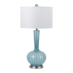 """Candice Olson - Contemporary Candice Olson Oasis Aqua Hand-Blown Glass Table Lamp - This exquisite hand-blown glass table lamp from designer Candice Olson makes an evocative addition to any room. A bubble pattern of aqua colored glass gently swirls around to form a stylishly shaped body. A white linen drum shade finishes the look. Due to its hand-crafted nature no two lamps will be identical. Blown glass body. Hand-made. Metal base. White linen shade. Takes one 150 watt 3-way bulb (not included). 31 1/2"""" high. Shade is 16"""" across the top 16"""" across the bottom and 10"""" high. Base is 7"""" in diameter.  Blown glass body.   Hand-made.   Metal base.   White linen shade.   Takes one 150 watt 3-way bulb (not included).   31 1/2"""" high.   Shade is 16"""" across the top 16"""" across the bottom and 10"""" high.   Base is 7"""" in diameter."""