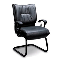 "Coaster - Office Chair (Black) By Coaster - Plush high back. Rich black faux leather upholstery. Smooth arms for comfort. Solid metal base offers support. 26.5 "" W x 20 "" D x 38.5 "" H.  This beautiful office chair will add both style and comfort to your home office. Perfect for a guest chair in your home office. Create a warm and stylish home office with this lovely casual contemporary executive office chair. Add an office chair to your home to instantly update your functional home office."