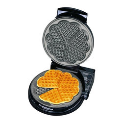 Chef'sChoice - Chef's Choice WafflePro (Five of Hearts) - Prepare the world's most delicious waffles in 90 seconds with the revolutionary Chef's Choice WafflePro. The unique Quad baking system lets you select the ideal flavor, texture and color. With a simple flip of the texture select switch, you can choose either fast bake for crisper waffles with a soft, oven fresh interior, or deep bake for a more uniform texture. This professional, heavy-duty unit offers a waffle ready, beeper, baking and ready lights, instant temperature recovery for continuous baking, a non-stick deep channel griddle and an easy-clean overflow channel. A floating hinge for the stainless lid ensures uniform thickness and baking. With a built-in cord storage compartment, the waffle maker can be efficiently stored in a space-saving, upright position. Recipes are included. One-year limited warranty.