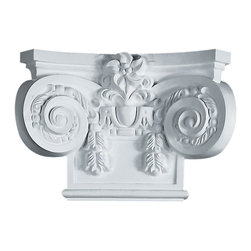 "Ekena Millwork - Large Empire Capital with Necking(Fits Pilasters up to 10 1/2""W x 3/4""D) - 19 5/8""W x 13 3/8""H Large Empire Capital with Necking (Fits Pilasters up to 10 1/2""W x 3/4""D). Our appliques and onlays are the perfect accent pieces to cabinetry, furniture, fireplace mantels, ceilings, and more. Each pattern is carefully crafted after traditional and historical designs. Each polyurethane piece is easily installed, just like wood pieces, with simple glues and finish nails. Another benefit of polyurethane is it will not rot or crack, and is impervious to insect manifestations. It comes to you factory primed and ready for your paint, faux finish, gel stain, marbleizing and more."