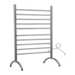 Hudson Reed - Hudson Reed Straight Plug In Freestanding Heated Towel Rail 38 x 24 - The attractive and functional Solo freestanding towel warmer is a great way to provide your bathroom, guest bathroom or kitchen with a substantial but comfortable level of warmth, and keep towels dry and cozy.This stylish towel warmer could not be simpler to use; simply plug-in and enjoy a luxurious feeling of warmth and comfort in moments.With a versatile design featuring ten horizontal bars, this towel warmer can be used in rooms with a modern or traditional decor, to enhance their overall look as well as the feel. Stylish, curved feet make an attractive and thoughtful design detail.A choice of a brushed or a polished chrome finish is available, so you can ensure your new heated towel rail perfectly complements your decor. Amba Solo Straight Plug In Freestanding Heated Towel Rail 38 x 24 Details  Dimensions: (H x W x D) 38 (965mm) x 24 (610mm) x 12 (305mm) Output: 512 BTUs Watts: 150 Amps: 1.30 Voltage: 110-120 (50/60 Hz) 10 straight horizontal bars All bars heat up, vertical and horizontal Freestanding plug-in Built-in On/Off switch Heats fast: no liquid Concealed wiring to wall Manufactured from high quality, 304 stainless steel Minimal power consumption: equivalent to a couple of light bulbs UL Certification (for Canada and the USA) 2 year limited warranty 7-day, 24-hour programmable timer available (ATW-P24)  Please note: there is a 10 day lead time for the delivery of this towel warmer.