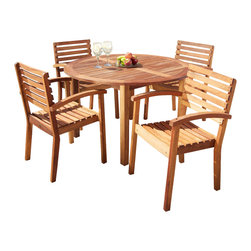 Great Deal Furniture - Naples 5-Piece Natural Hard Wood Dining Set - The Naples 5pc Natural Hard Wood Dining Set features a circle table and wood chairs. Enjoy a meal outside watching the sunset with your friends and family. Natural wood matches with your existing outdoor decor.