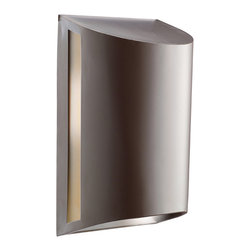 Kichler 1-Light Sconce - Architectural Bronze Exterior - One Light Sconce Contemporary styling in an architectural bronze finish and smoked umber glass make for a sleek outdoor light. 1 light, 100 watt max. Width 7, extension 12, height from center of wall opening 5 1/2. Ul listed for wet location. Dark sky compliant panels included. U. S. Patent pending. Also available as energy efficient 10922az.