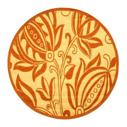 Safavieh - 5-Foot 3-Inch Round Area Rug in Natural with Terra Flowers - Machine Made. Made of Polypropylene