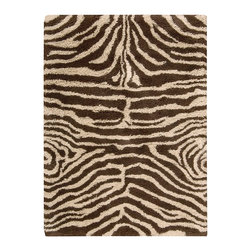 """Nourison - Nourison Splendor SPL17 7'6"""" x 9'6"""" Ivory Brown Area Rug 01131 - Animal magnetism comes home in this richly patterned shag rug that practically begs to be petted. You'll love the thick, cushiony feeling underfoot and the versatile palette of pale ivory and brown. A wild touch in any interior."""