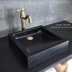 "KIAMA SHADOW 16""x16"" BLACK GRANITE VESSEL SINK - Reference: BB501B-US"