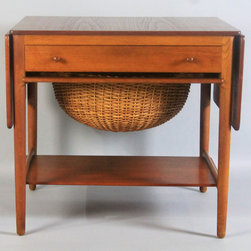 HANS WEGNER TEAK AND OAK SEWING TABLE WITH WICKER BASKET FOR ANDREAS TUCK FROM T - The Potomack Company