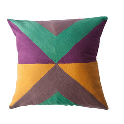 Leah Singh - Zimbabwe West Summer Pillow - Inspired by the shapes and colors of different flags, these colorful geometric pillows are hand-embroidered by women artisans in north India.
