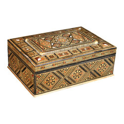 MBW Furniture - Syrian Walnut Mosaic Jewelry Box - Walnut finish w/ mother of pearl inlay  Pull-out tray Felt-lined interior Lock w/ keyHand madeThe mosaic furniture we import from Syria is of the highest quality found anywhere. We hand pick each piece we buy for quality. You can purchase this furniture from us cheaper than you get it in Syria believe it or not. Please consider the features below for our gorgeous 100% hand made Syrian mosaic furniture. Solid Walnut Wood Frame Hand Inlaid exotic woods like Peach wood, Apricot wood, Rose wood, Peach wood, lemon wood, cedar wood and olive wood. Genuine Inlaid Mother of Pearl (not the cheap imitations or plastic) Completely Hand Made (no mass production whatsoever). Same methods used today in the construction, where all the furniture is made in small workshops, not factories. We literally have a full time employee in Syria buying from over 30 small workshops. The Syrians are the first original producers of Arabesque mosaic inlaid furniture and accessories. Many surrounding countries like Egypt, Turkey, and Lebanon have tried to imitate the process with little success. There is a huge difference in the quality and craftsmanship and woods used. Syria sells mosaic furniture mainly to the Middle East due to heavy restrictions on importing from Syria to other countries like the USA. MBW FURNITURE, INC is one US based direct importer with the ability to import from Syria (however with extreme difficulty). We are not sure yet if we will be able to continue to import this furniture in the future due to the extreme difficulty and restrictions by customs inspections and political conditions and changes. You are getting one of a kind, unique furniture that will last a lifetime. You are getting the best Syrian mosaic furniture in the world from us; hand picked and selected, BAR NONE. Please shop around and come to us later to compare prices. Remember, there are different quality levels of Syrian mosaic furniture, we only import the cream of the crop quality with the real mother of pearl inlay and high end finish. Many sellers will sell you the cheap stuff; we cannot compete price wise with low end items because there is a world of difference in quality!