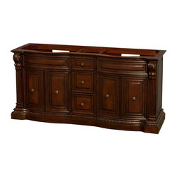 Wyndham Collection - 72 in. Double Bathroom Vanity in Cherry, No Countertop, No Sinks, and No Mirrors - The Roxbury vanities are hallmarks of elegant detailing and hand-crafted workmanship that evoke images of the grandeur and style of classic America. No detail has been spared, from the anchoring strength of the base to the subtlety of the raised paneling, this is truly luxury at an affordable price, and the perfect statement of taste and tranquility for your new bathroom.