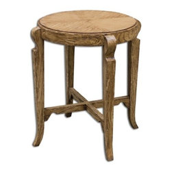 Uttermost - Uttermost Bandi Distressed Accent Table - Mindi wood solids and mindi veneer with hand painted, distressed camel finish.