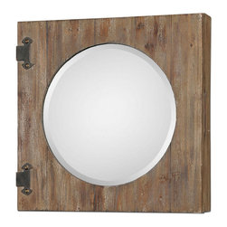 Uttermost - Uttermost 24 Inch Round Gualdo Mirror Cabinet in Aged Wood - Aged Wood with a Light Ivory Wash and Rustic, Olive Bronze Details. Hinged Front Opens to Reveal a Finished inside with Two Fixed Shelves.