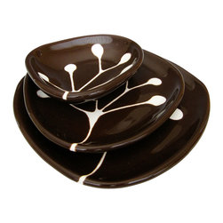 "Hope Johnson  Ceramics - Ceramic Dishes, White Branch on Dark Chocolate Brown, Set of 3 - This listing is for a set of THREE dishes. The smallest dish measures approx. 1"" tall, 4"" long, 3.5"" wide. The middle size dish measures approx. 1/2"" tall, 5"" in diameter. The largest dish measures approx. 3/4"" tall, 6"" in diameter."