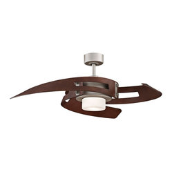 "Contemporary 52"" Fanimation Avaston Satin Nickel Ceiling Fan"