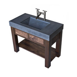 Concrete trough sink with patinaed steel and Black Walnut base. - Concrete trough sink with patinaed steel and Black Walnut base. Thanks to Lockie Photography