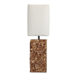 ParrotUncle - White Cube Fabric Shade With Rustic Wooden Base Table Lamp - Made from premium materials,this table lamps offers great function and ornamental value for your home with the natural beautifulness of original ecology. Solid wood decorative table lamp with creative arts