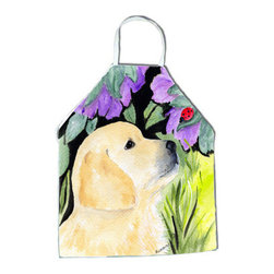 Caroline's Treasures - Golden Retriever Apron SS8245APRON - Apron, Bib Style, 27 in H x 31 in W; 100 percent  Ultra Spun Poly, White, braided nylon tie straps, sewn cloth neckband. These bib style aprons are not just for cooking - they are also great for cleaning, gardening, art projects, and other activities, too!