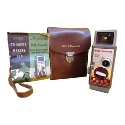 Used 1950s Bell & Howell 252 Monterey 8mm Movie Camera - Talk about a throwback to the simpler times! This vintage Bell & Howell Movie Camera Model 252 comes with its original manual and leather carrying case. This camera uses 8mm film - and although we're unsure if it works or if the film is still available - we do know that this collectable piece has great character!     This camera weighs 2lbs. and is in good vintage condition; strap on leather case is in two pieces and needs repairing.