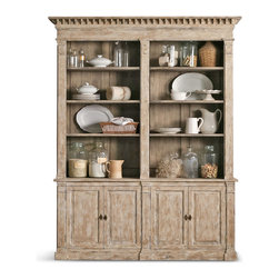 Eloquence - Le Baux French Country Weathered Beige Oak Wood Double Cabinet Bookcase - Impressive in stature and design, this oversized French Country curio cabinet will hold all of your favorite finds. With eight open display shelves and four compartments behind closed doors, there is ample room for books, china, family photos and other heirlooms. Extensive distressing creates a unique color palette of white, cream, taupe and grey on each piece.