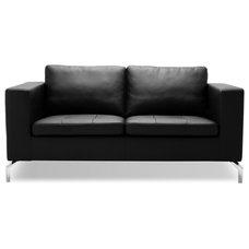 Modern Love Seats Greenwich Black Leather Love Seat