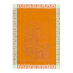 Le Jacquard Francais - Le Jacquard Francais Curiosites Flora Zest Tea / Kitchen Towel 24 x 31 - A series of etchings of strange and colourful curiosity cabinets. Six colours to collect on a mineral, floral or animal theme.Damask fabric, 100% Pure cotton colored warp and weft.