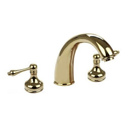 Dynasty Hardware - Roman Tub Faucet With Vintage Levers , Polished Brass - Material: Solid Brass
